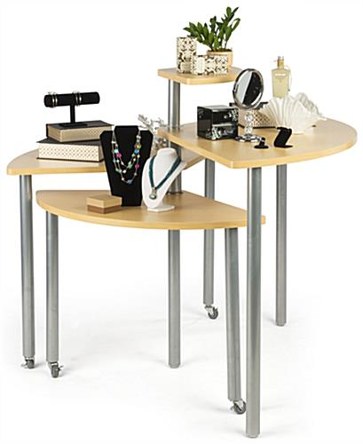 Maple Rotating Retail Display Table is Nesting