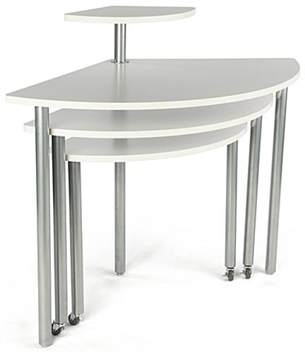 White Rotating Retail Display Table with Multiple Layers