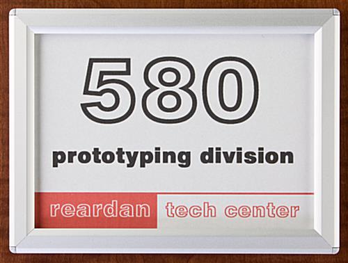 Aluminum Office Door Sign Snaps Open For Easy Entry