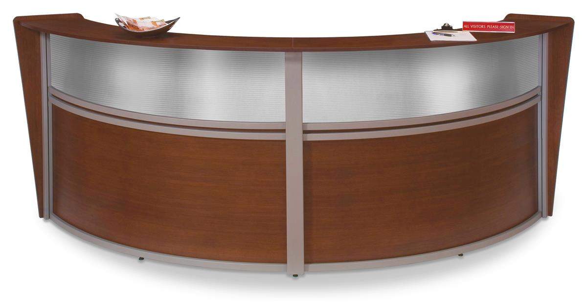 Commercial Reception Area Desks 10 Cherry Finish Curved