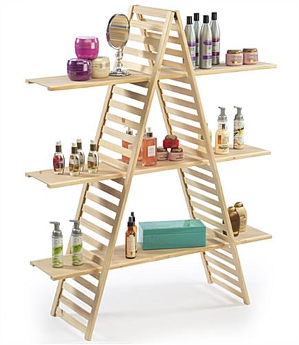 A Frame Shelving Customizable Wood Display Stand