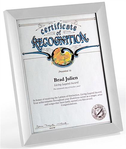 "Silver Certificate Frames for 8.5"" x 11"" Documents"