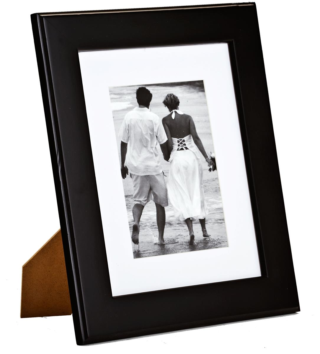 8x10 Classic Black Frame With Matting Wood Counter Wall