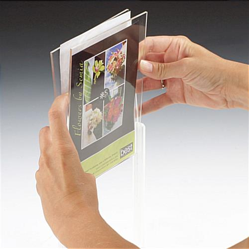 This picture frame displays two 5 x 7 photos menus or for 11x14 table top frame