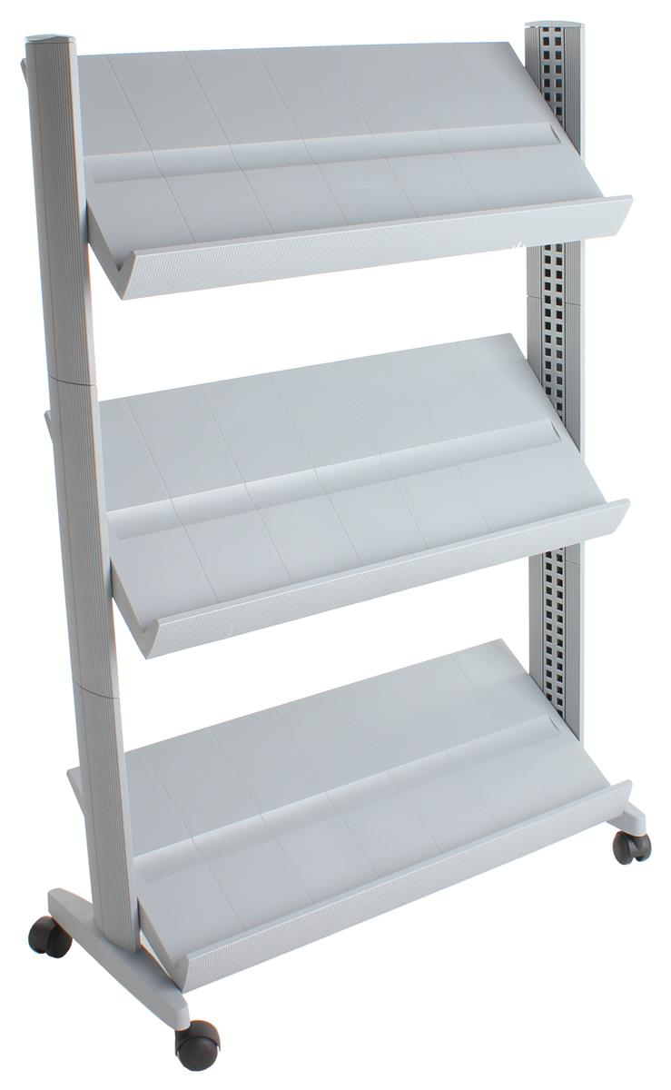 Portable 3 shelf silver plastic information stand for Portable book shelves