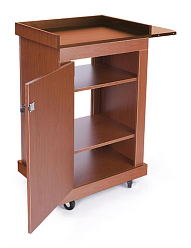 Portable Computer Cabinets : Full size workstation lectern portable cherry