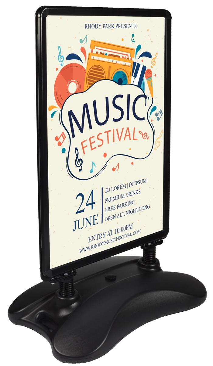Double Sided Sidewalk Sign Black Plastic With Water Fill