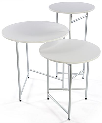 Trade Show Cocktail Table Set Made of Lightweight Aluminum & Melamine