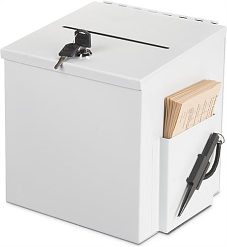 Locking White Donation Box