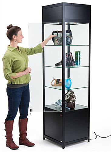 Glass Cabinet with 4 Shelves
