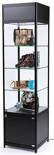 LED Retail Tower with Adjustable Glass Shelves