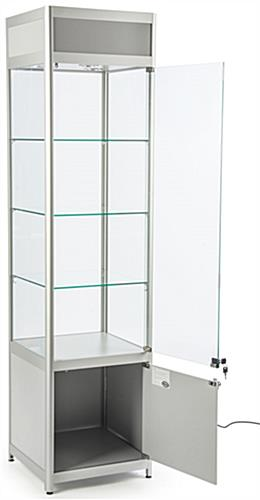 Knock Down Glass Tower Case Hinged Doors