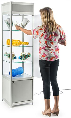 Knock Down Glass Tower Case for Retail Use