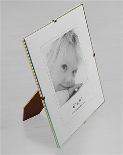 glass clip photo frame is frameless with a tempered glass panel