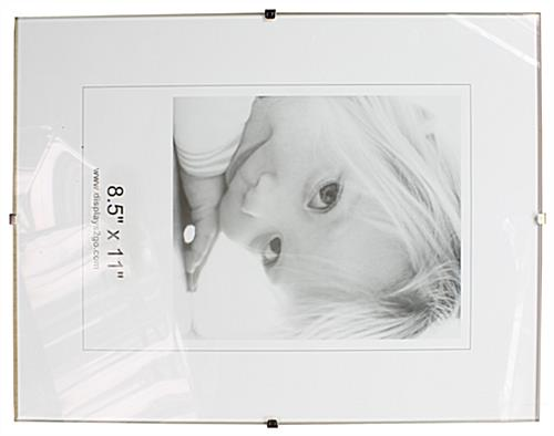 glass frameless clip picture frame for 8 1 2 x 11 inch documents