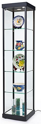 Tempered Glass Display Has A Black Semi-Gloss Aluminum Frame With Shelving
