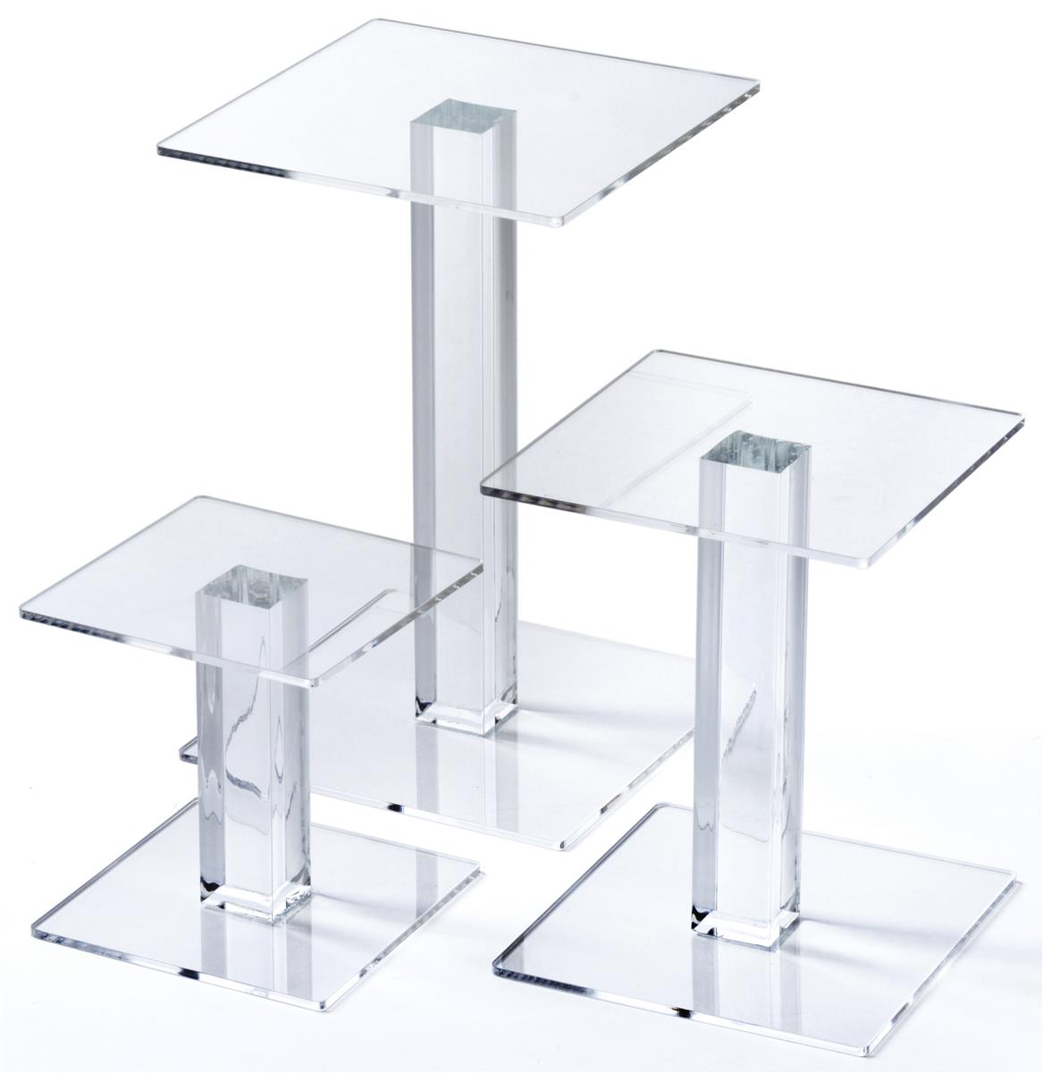Tiered acrylic risers set of w square surface
