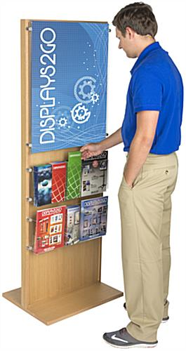 Poster Stand With 10 Brochure Holders, Adjustable
