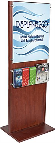 Mahogany Poster Holder With 5 Pamphlet Compartments