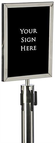 "Silver 11"" x 14"" Stanchion Sign Holder with Thick PVC Backer"