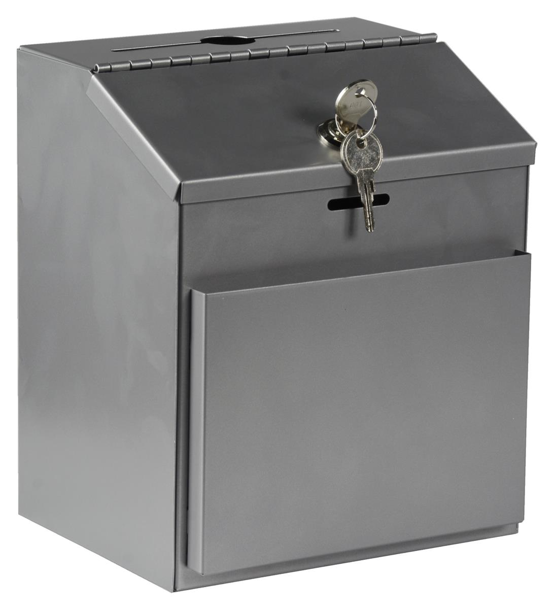 Saw Wall Mount Box : These metal donation boxes feature a hinged locking lid
