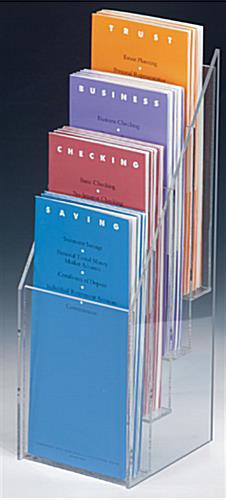 "4 Pocket Tiered Acrylic Brochure Racks For 4"" Brochures"