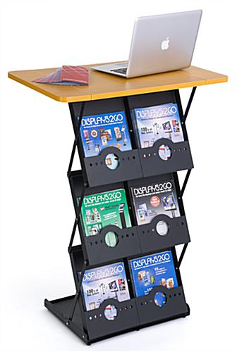 Folding Magazine Rack with Tabletop and 6 Pockets