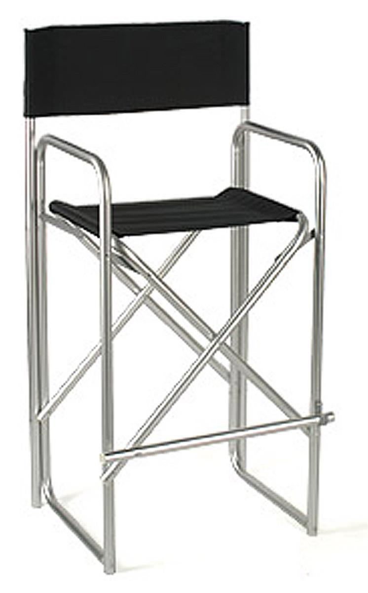 metal folding tall directors chair aluminum black