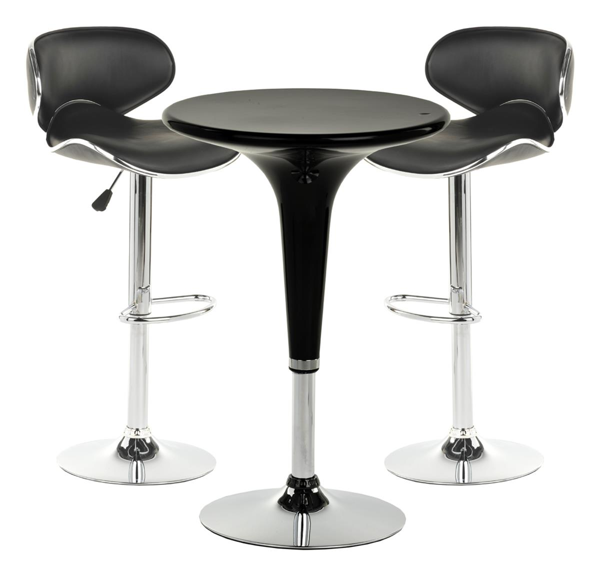this chrome pub table set is modern furniture with a retro charm  - this chrome pub table set is modern furniture with a retro charm forpersonal or commercial use this furniture collection is black and chrometo match with