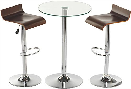 This glass high top table and chairs is modern furniture for Round cocktail table with stools