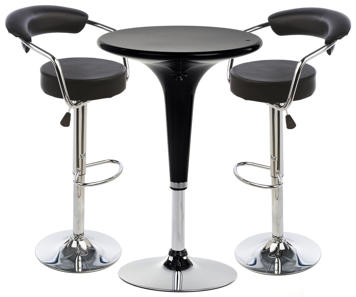 Adjustable Cocktail Table And Chairs Black Leather And