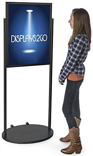 Freestanding Black 22 x 28 Wheeled Poster Stand