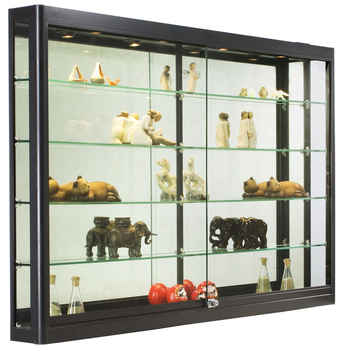 Wall Mounted Retail Fixtures : Wall Retail Case With Lights Black Frame w/4 Adjustable Shelves