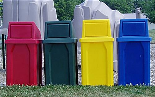Yellow outdoor trash cans 32 gallon capacity - Rd trash can for sale ...