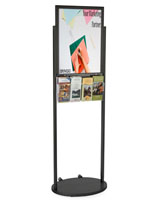 Black 18 x 24 Wheeled Poster Display with 8 Pamphlet Pockets with Welded Skirt