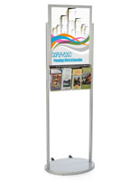 Silver 18 x 24 Wheeled Poster Display with 8 Flyer Pockets with PVC Lens
