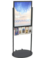 Black 22 x 28 Mobile Poster Display with 10 Literature Pockets, Powder Coat Finish