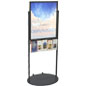 Black 22 x 28 Mobile Poster Display with 10 Literature Pockets, Top Loading