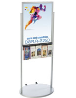 Silver 22 x 28 Mobile Poster Display with 10 Information Pockets, Powder Coat Finish