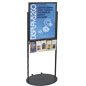 Black 22 x 28 Movable Poster Stand with 5 Literature Slots, Powder Coat Finish