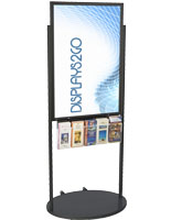 Black 24 X 36 Movable Poster Stand with 5 Literature Pockets, Aluminum Construction