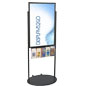 Floor Standing Black 24 X 36 Movable Poster Stand with 5 Literature Pockets