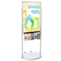 Silver 24 x 36 Moveable Poster Stand with 5 Literature Pockets with PVC Inserts