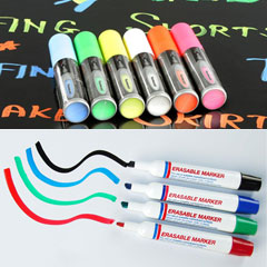 Dry erase and wet erase markers