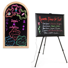 Black write-on boards accept brightly colored markers
