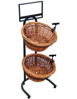 End Cap 2 Tier Wicker Basket Stand