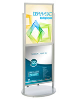 "Silver Dual 22 x 28 Mobile Poster Display, 63"" in Height"
