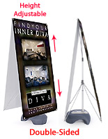 Outdoor banner display stands