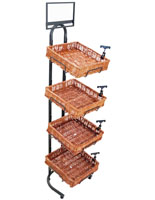 Wicker Basket Display Stand with 4 Bins