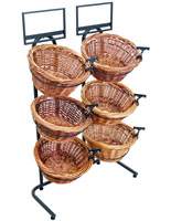 Round Tiered Wicker Basket Stand